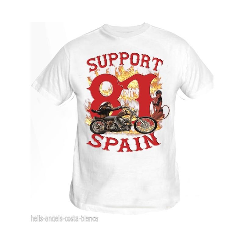 Hells Angels David Mann Blanc T-Shirt Support81 Big Red Machine
