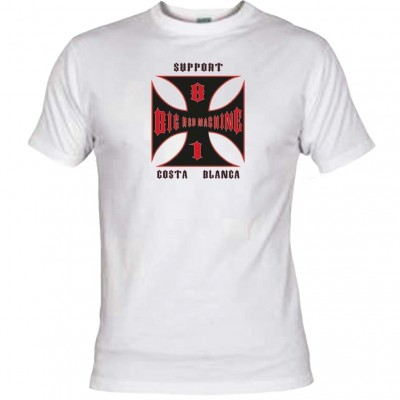 Hells Angels Cross Costa Blanca Bianco T-Shirt Support81 Big Red
