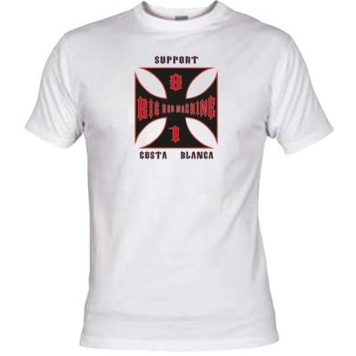 Hells Angels Cross Costa Blanca Blanc T-Shirt Support81 Big Red