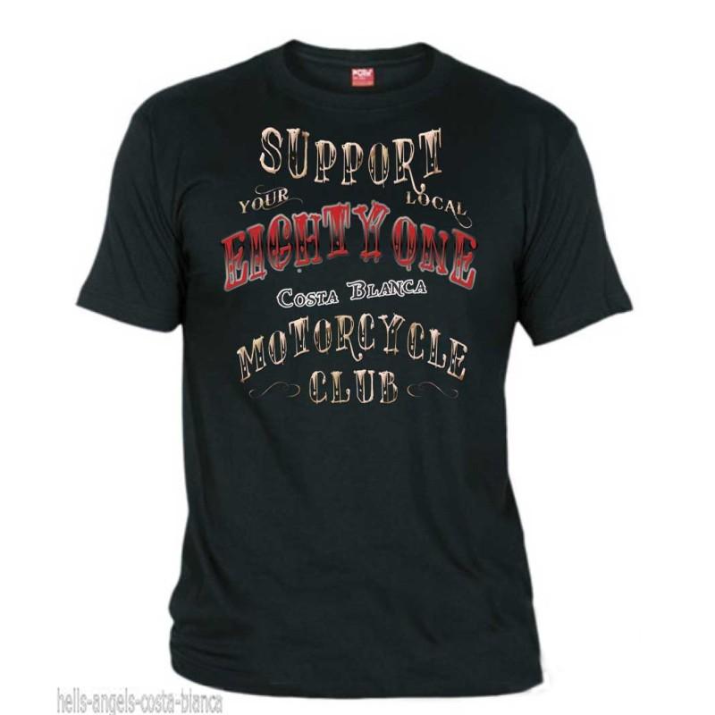 Hells Angels EightyOne Black T-Shirt Support81 Big Red Machine 1%