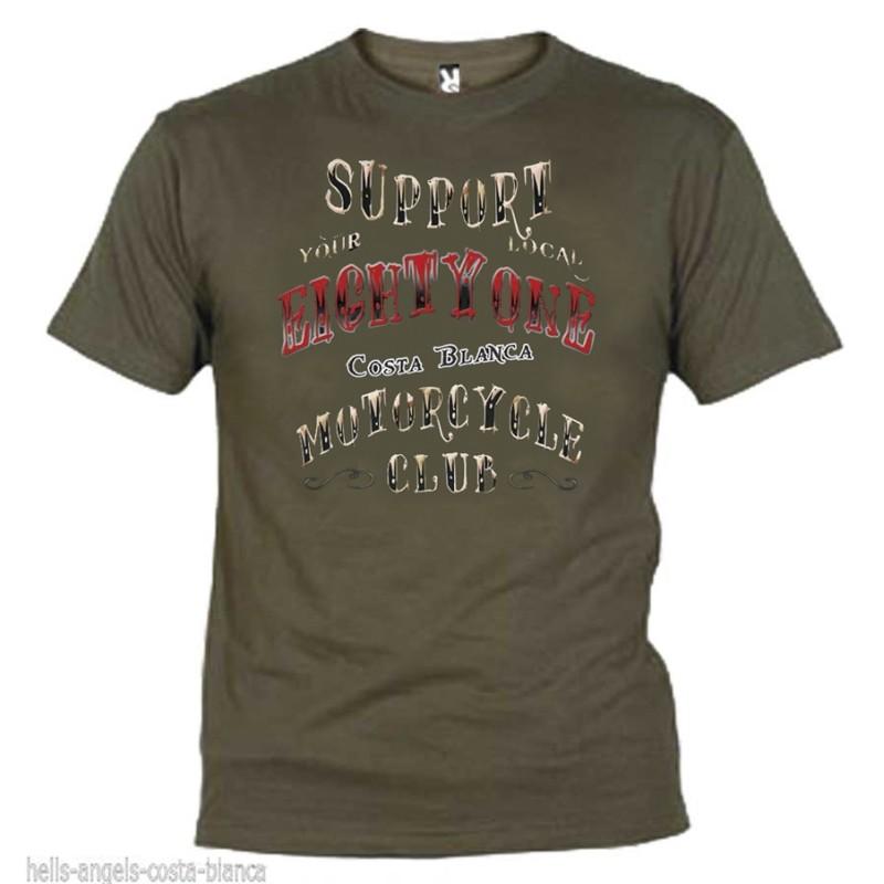 Hells Angels EightyOne Oliva T-Shirt Support81 Big Red Machine 1%