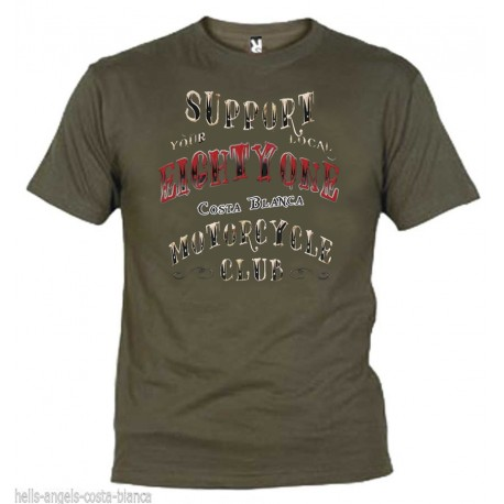 Hells Angels EightyOne Olive T-Shirt Support81 Big Red Machine 1%