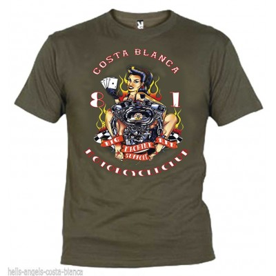 Hells Angels Lady Luck Olive T-Shirt Support81 Big Red Machine 1%