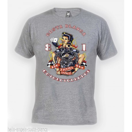 Hells Angels Lady Luck Gray T-Shirt Support81 Big Red Machine 1%