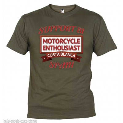 Hells Angels Enthousiast Olive T-Shirtr Support81 Big Red Machine 1%