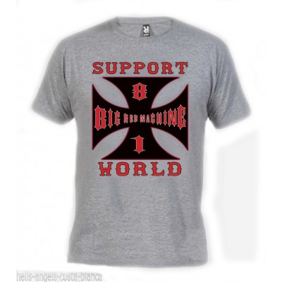Hells Angels Cross world Grey T-Shirt Support81 Big Red Machine 1%