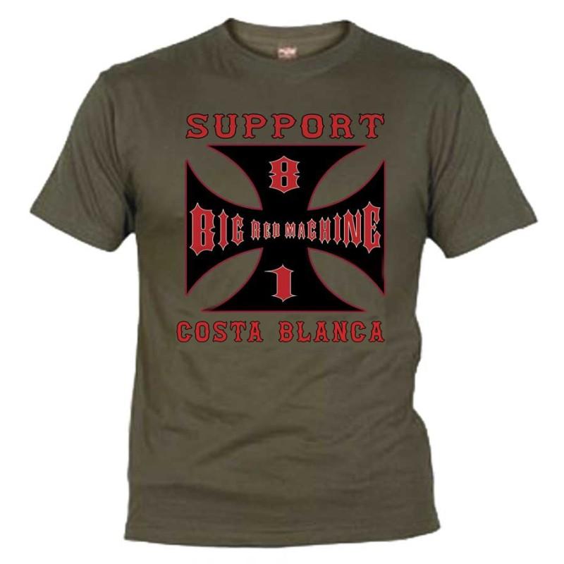 Hells Angels Cross Costa Blanca Olive T-Shirt Support81 Big Red Machine 1%