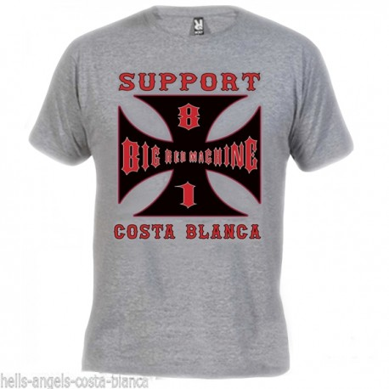 Hells Angels Cross Costa Blanca Grey T-Shirt Support81 Big Red Machine 1%
