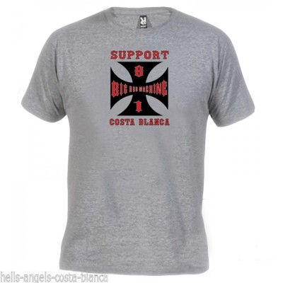 Hells Angels Cross Costa blanca Gray T-Shirt Support81 Big Red