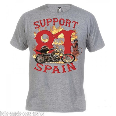 Hells Angels David Mann Gris T-Shirt Support81 Big Red Machine 1%