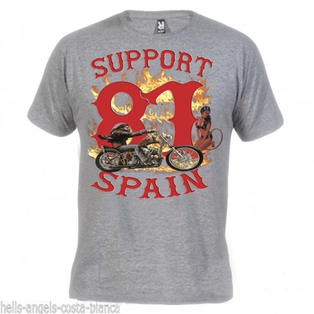 Hells Angels David Mann Gray T-Shirt Support81 Big Red Machine 1%
