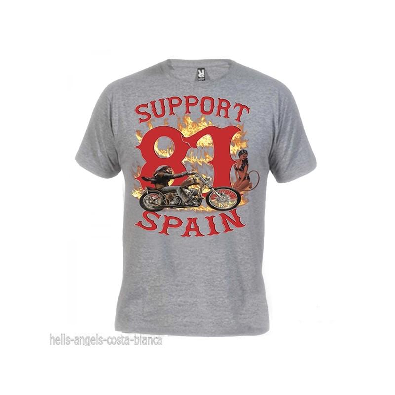 Hells Angels David Mann Grigio T-Shirt Support81 Big Red Machine