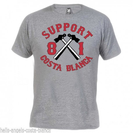 Hells Angels Hammer Gray T-Shirt Support81 Big Red Machine 1%