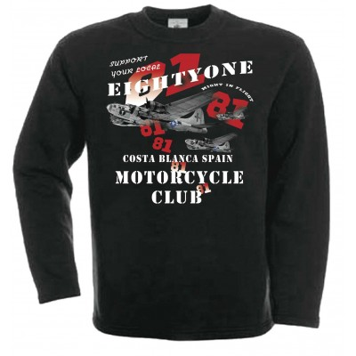 Hells Angels B-17 Sweater Support81 Big Red Machine Black
