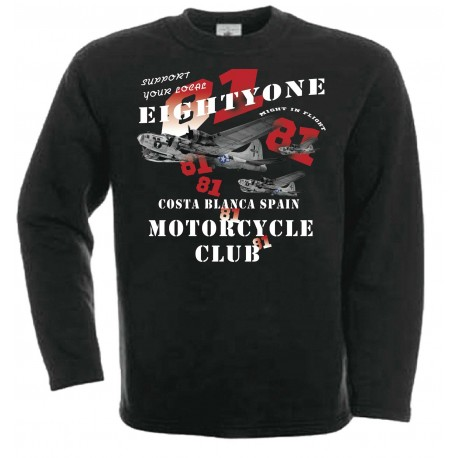 B-17 Sweater Support81 Big Red Machine Black
