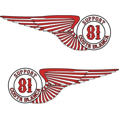 Hells Angels Support 81 sticker  Wings 2x (15cm)