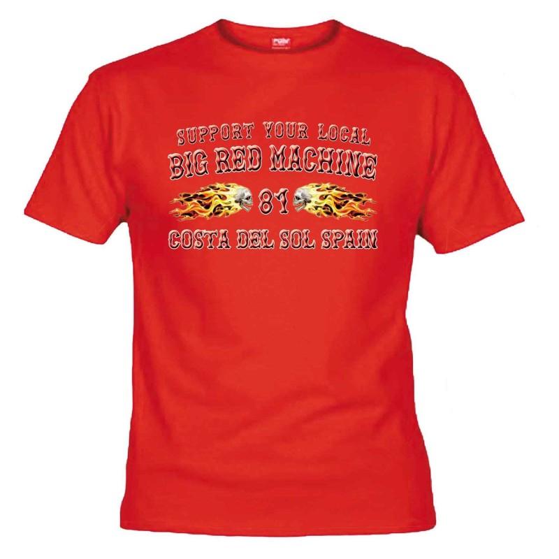 Flamed Sculls Rot T-Shirt Support81 Costa del Sol