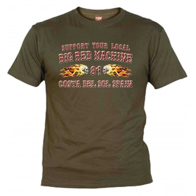 Hells Angels Flamed Sculls Verde-Kaki T-Shirt Support81 Costa del Sol