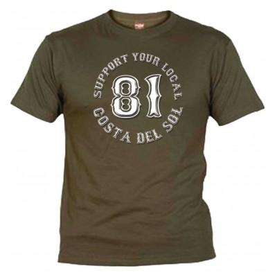 Hells Angels Support 81 Khaki T-Shirt Costa del Sol
