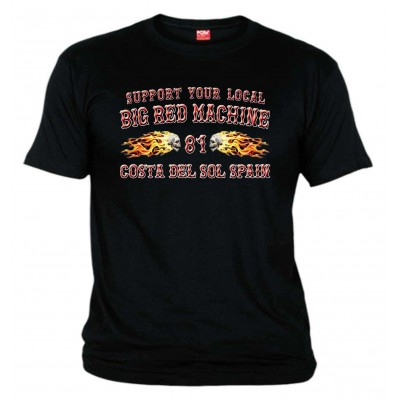 Flamed Sculls  Black T-Shirt Support81 Costa del Sol