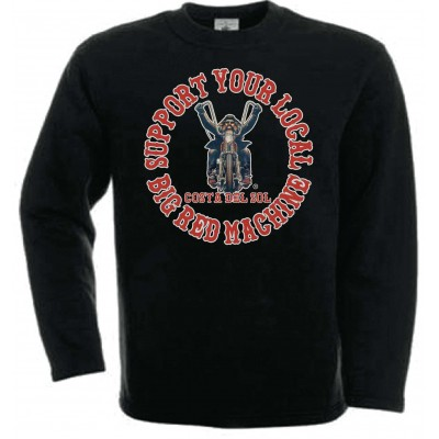 Hells Angels Biker Support81 Costa del Sol Sweater Big Red Machine Black