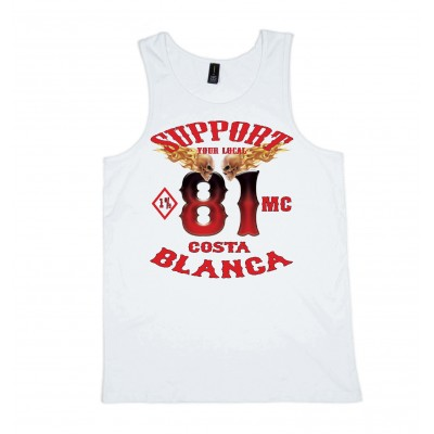 1%MC White Singlet Support81 Big Red Machine Hells Angels™