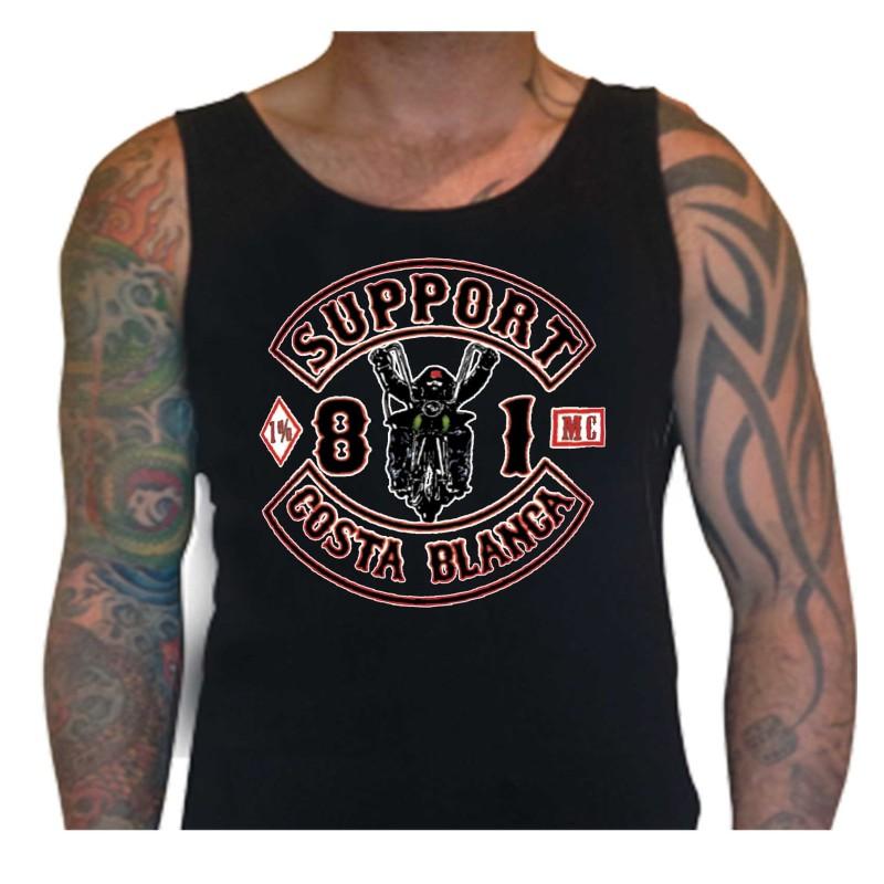 Biker White Singlet Support81 Big Red Machine 1% Hells Angels™