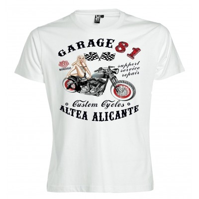 Hells Angel Garage81 Altea Alicante White T-Shirt