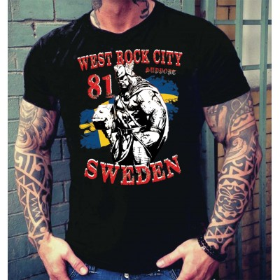 Hells Angels Sweden Thor West Rock City Support81 Black T-Shirt