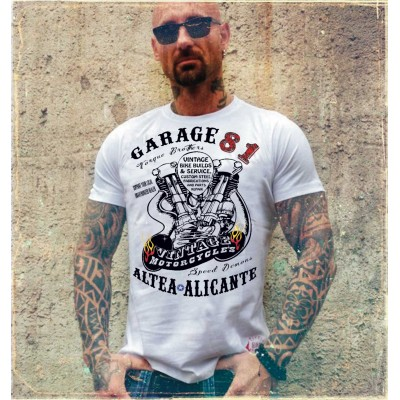 Hells Angels Garage81 Nuckle Altea Alicante White T-Shirt