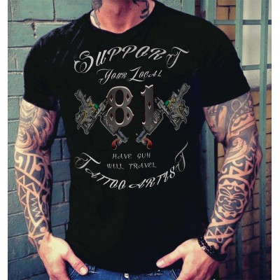 Hells Angels Tattoo Support81 Camiseta Negra
