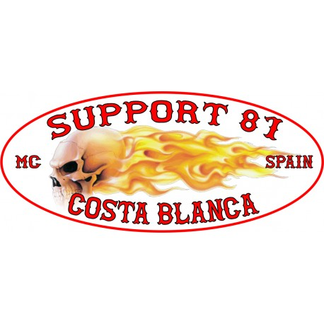 Hells Angels sticker Support 81 Costa Blanca Flames oval