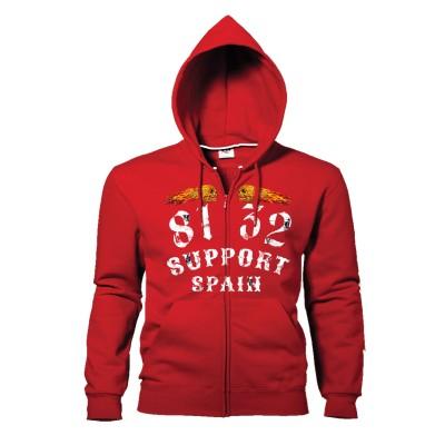 Hells Angels 8132 Flaming sculls hooded sweatshirt red