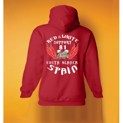 Hells Angels 81 Fist Sculls Ladies hooded sweatshirt red