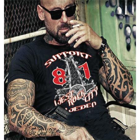 Hells Angels Sweden Hammer West Rock City Support81 Black T-Shirt