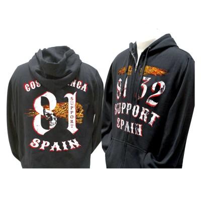Hells Angels 8132 Flaming sculls hooded sweatshirt black